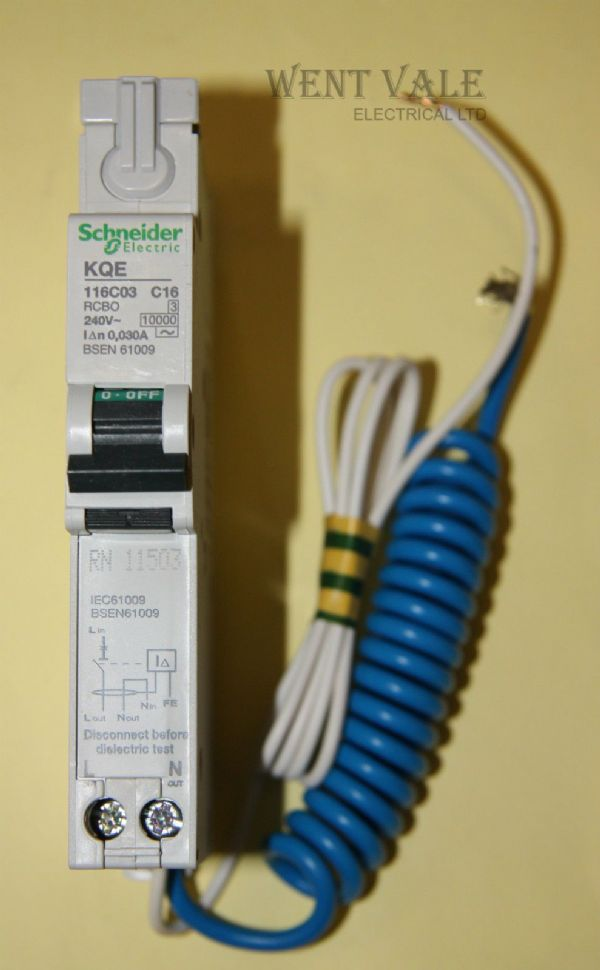 Schneider KQE116C03 - 16a 30mA Type C Single Pole RCBO New in box